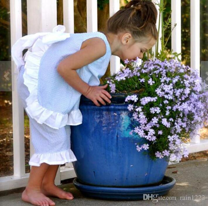 Verano Niñas Algodón Arco Chaleco Pantalones Cortos Conjuntos de ropa Bebé Niños Azul Plaid Ruffles Arco Ropa Trajes Niños Niños Trajes Trajes