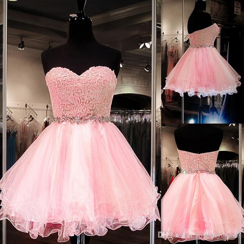 Compre Vestidos De Fiesta Cortos 2016 Pink Sweetheart Con Cuentas De ...