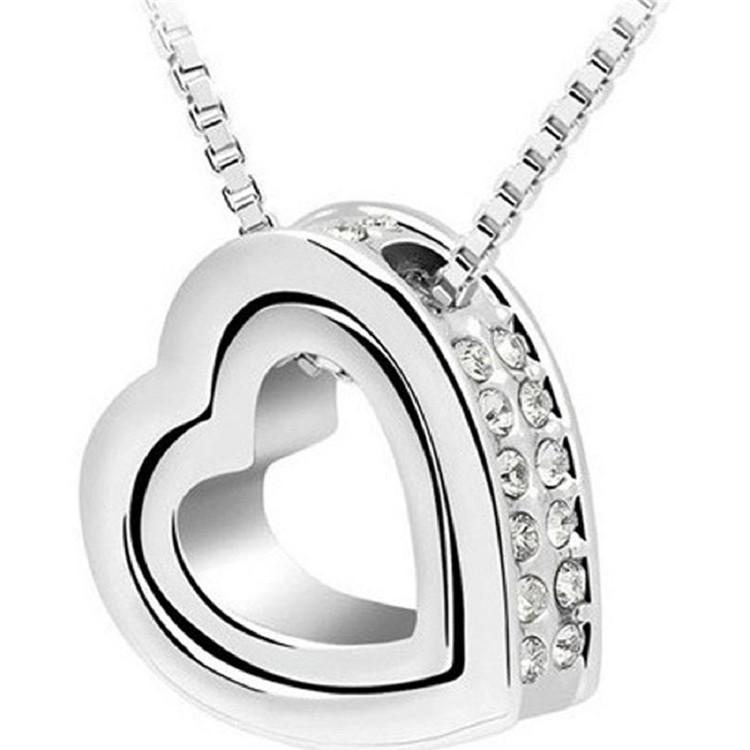 Silver Plated Alloy Metal Shining Crystal Chain Necklaces Double Love Heart Charm Love Forever Statement Bib Choker Pendant Necklace Jewelry