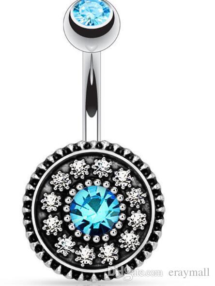 Buona qualità Nuovo fiore retrò gemma diamante ombelico pulsante campana anelli doratura del corpo di gioielli piercing popolare tre colori