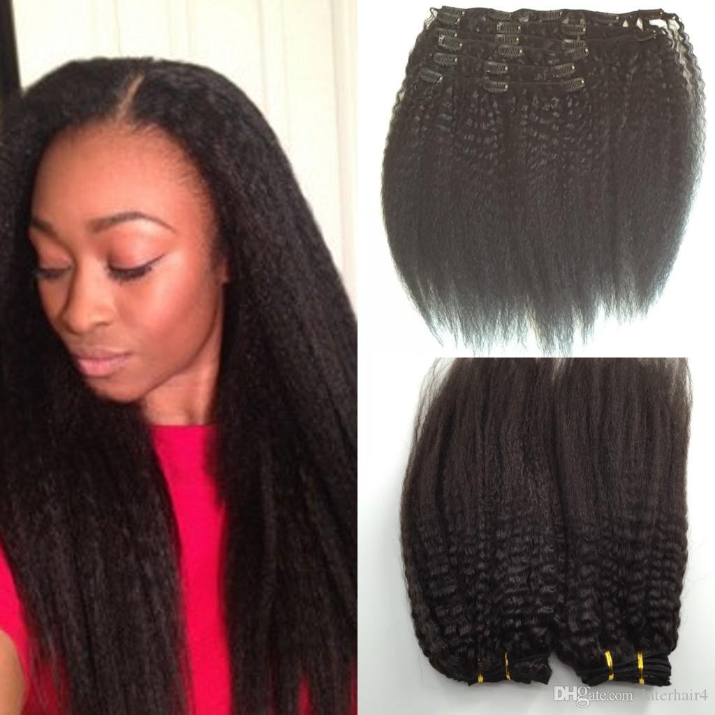 Peruvian 120g Kinky Straight 4b 4c Clip In Natural Color Human Hair
