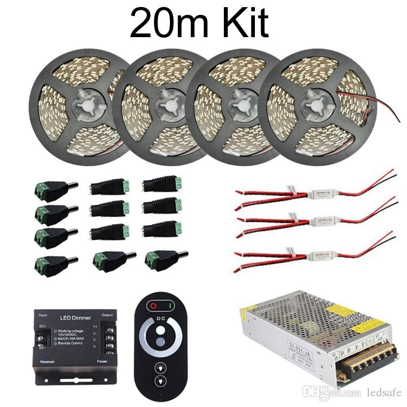 """10m 20n 15m 5m LED Strip Light Lamp """"S"""" Shape 12V SMD 5050 2835 60leds/m Kit Non waterproof + Dimmer Switch + Power Supply Adapter WW CW CE"""