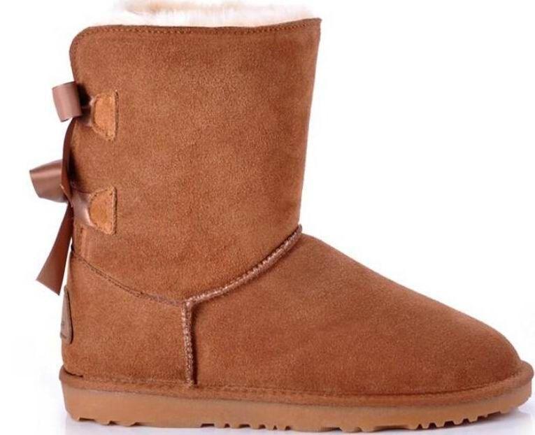 1481ba4e0db HOT SALE NEW women bailey bow snow boots short winter Cowhide leather  Bowknot women s Australia Lady warm boots female shoes