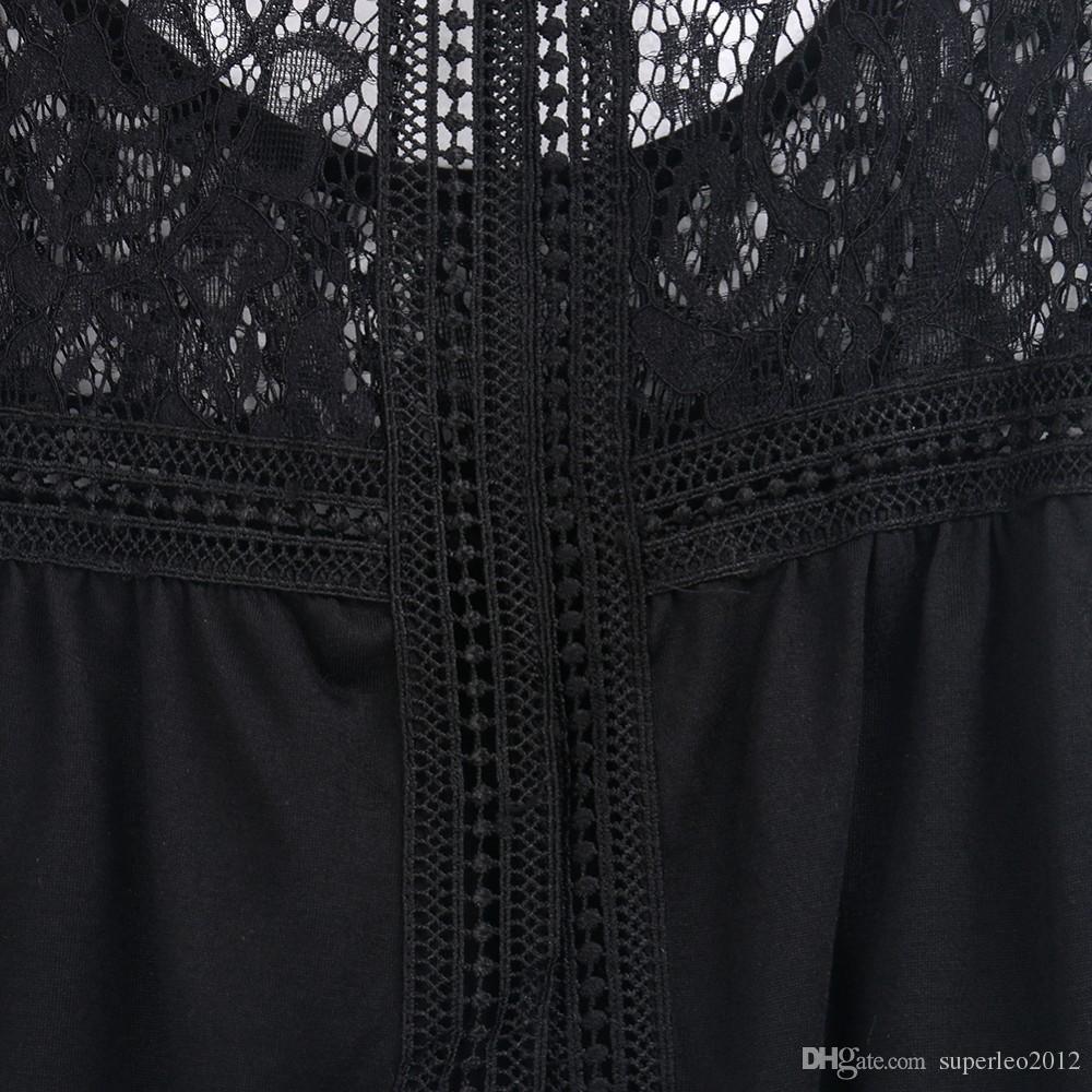 Ropa de mujer Tops Camisetas sin mangas Camis Fashion Women Summer Vest Top sin mangas Casual Ahueca hacia fuera el cordón más tamaños Back Slit Tank Tops