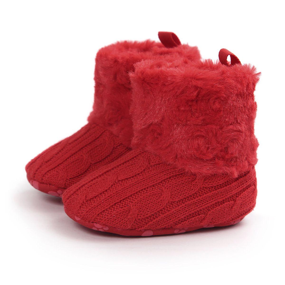 2016 infantile bébé filles neige bottes de fourrure tricotée laine épaissir au chaud bambin garçon fille première marcheur chaussures bottes infantile nouveau-né chaussures 7 couleurs