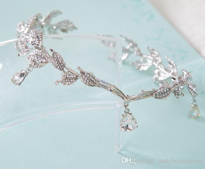 Rhinestones Kristaller Gelin Tiaras Taçlar Düğün Gelin Tiaras Takı Düğün Hairbands Saç Aksesuarları Gelin Tiaras Saç Düğün Için