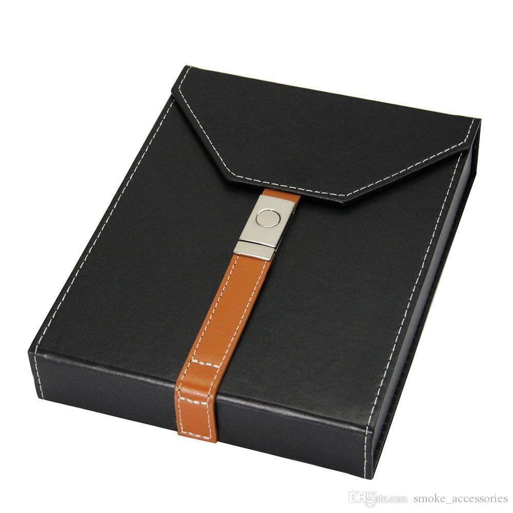 220 * 170 * 47 MM di alta qualità in pelle nera legno di cedro sigaro humidor foderato sigaro custodia da viaggio umidificatore con umidificatore