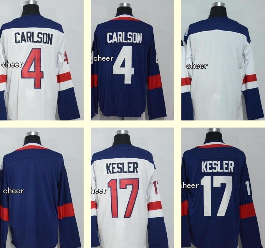 f8756b6d1 Wholesale Men s 4 John Carlson 17 Ryan Kesler Blank White Blue 2016 World  Cup Hockey Jersey Top Quality 4 John Carlson 17 Ryan Kesler Cheap Sports  Jerseys ...