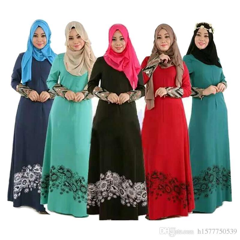 Arab Abaya Turkish Women Clothing Muslim Dress Islamic Jilbabs And Abayas  Robe Musulmane Muslim Flower Print Dresses Vestidos Longos Black Canada  2019 From ... be00e75f7