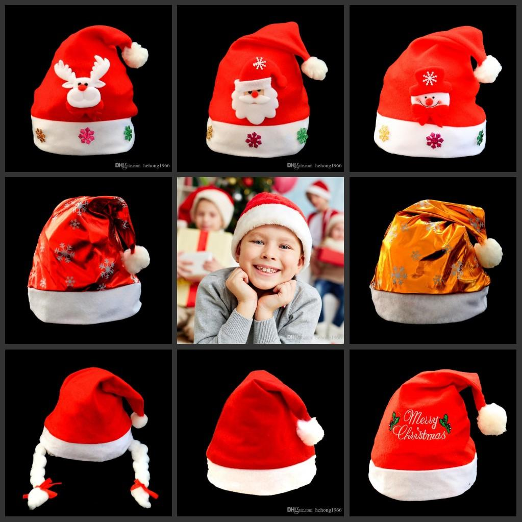 Santa Claus Hat Cute Gifts Adult Children Cosplay Super Soft High Grade Short Plush Hats Christmas Decoration 4 8qy F R