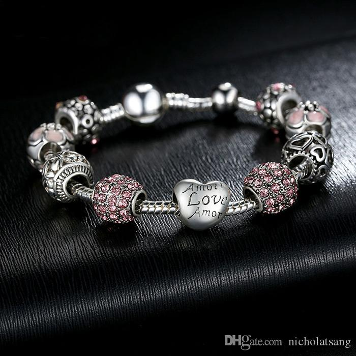 Wholesale DIY Pandora Antique 925 Silver Charm Bangle & Bracelet with Love and Flower Crystal Ball for Women Wedding Engagement Jewelry