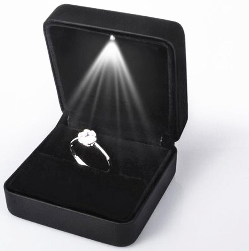 2018 led light wedding ring box earring pendant necklace jewelry storage box for wedding valentines day supplies light up case from top_rated_factory - Wedding Ring Box