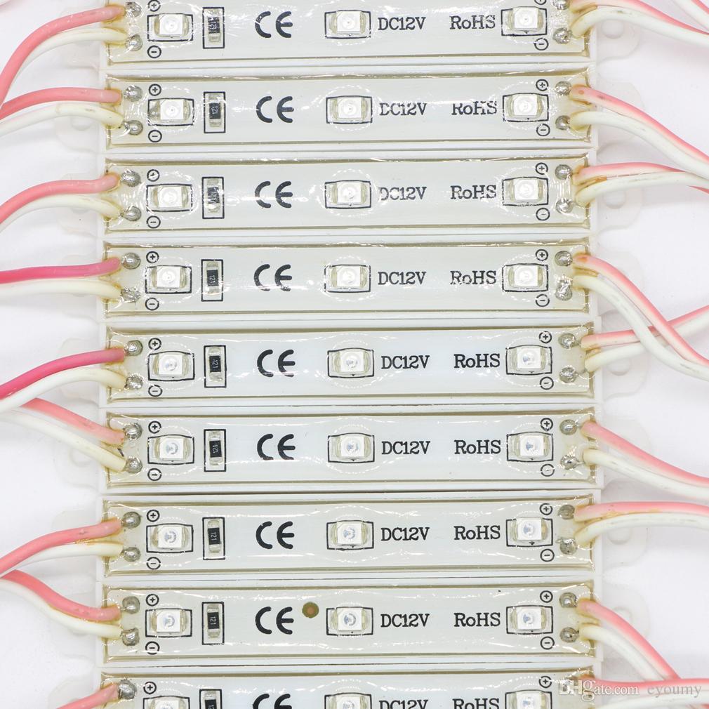 Eyoumy SMD 3528 3 LED Módulos Única Cor Verde / Vermelho / Azul / Branco / Branco Quente À Prova D 'Água IP66 DC12V DIODO EMISSOR de Luz