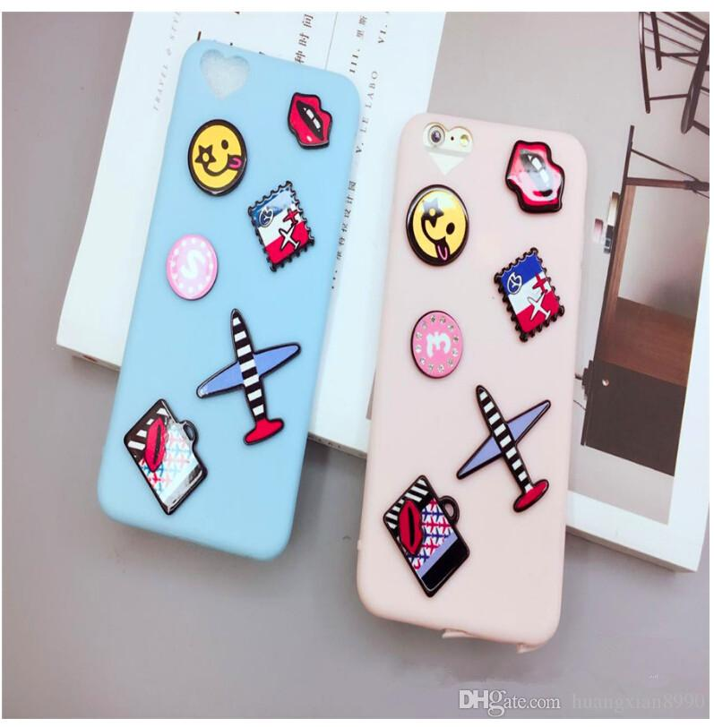 Fashion Cute 3D Cartoon Blue Aircraft Kiss Lips Soft Silicone Case Cover For iPhone 6S 6Plus 6splus New Phone Cases Bag Girls