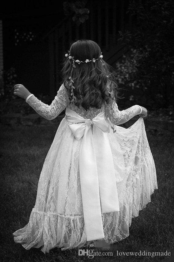 Vestidos de marfil elegante de Boho llenas del cordón largo de la manga las muchachas de flor de 2018 vestidos nupciales del partido nudo del arco de Banda Larga Cuello Joya Sheer