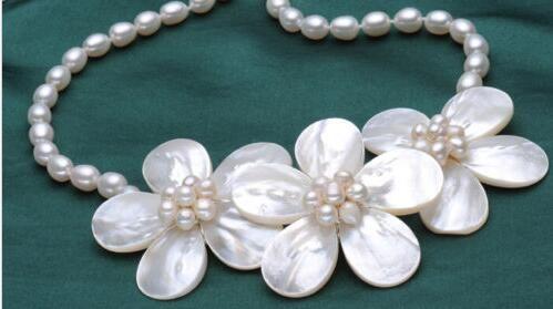 웨딩 우아한 예쁜 꽃 100 % 진짜 진주 목걸이 여자 보석 선물