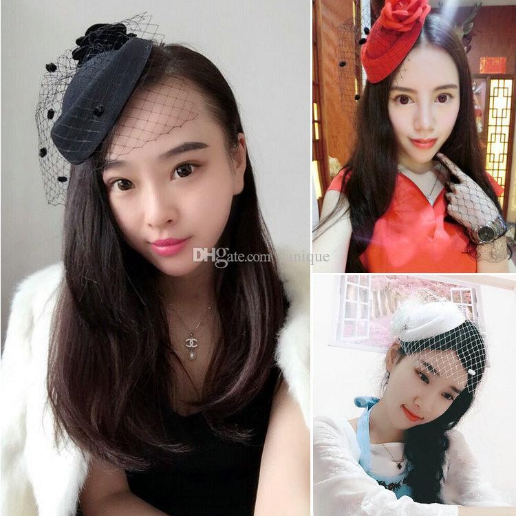 Hot Sale Elegant Wedding Party Bridal Headdress Church Hats 2018 Bridal Hats Cheap Handmade Custom Hats