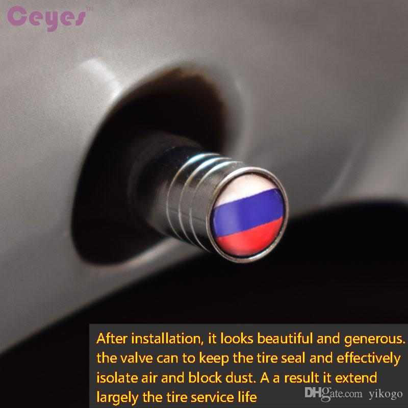 Car Wheel Tire Valves Tyre Stem Air Caps Cover for Russian Federation Flag Emblems Badge Car Tire Accessories Styling