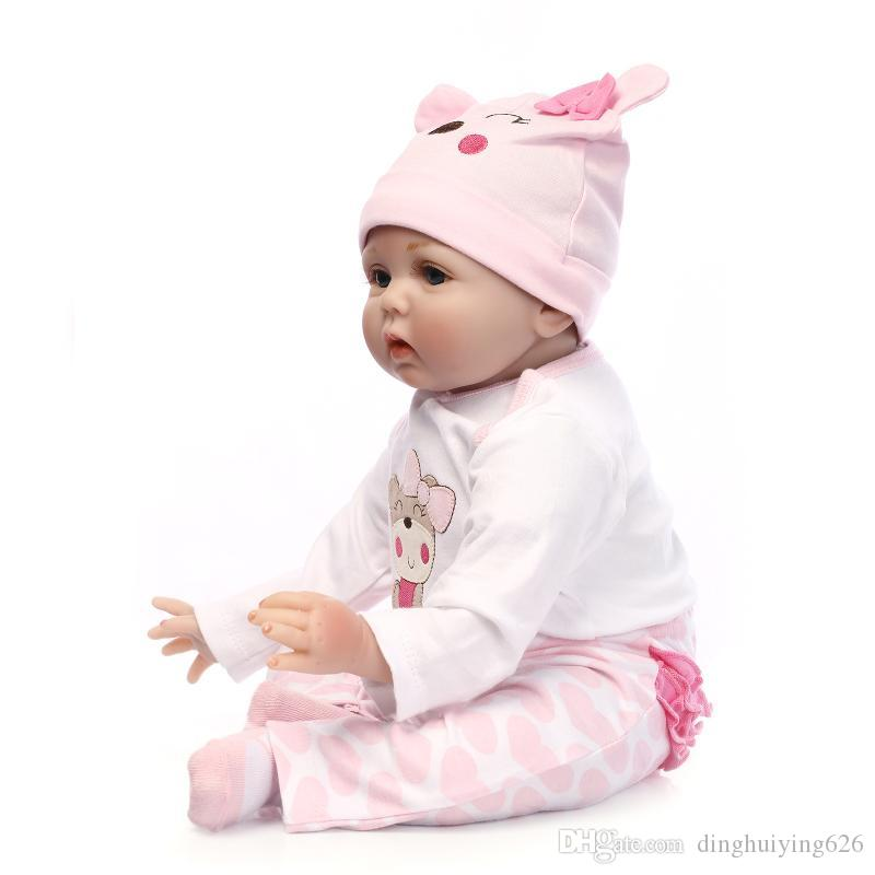 """22""""Soft Blue Eyes Pink Clothes Girl Newborn Doll Baby Doll Toy Girls Birthday Gift Reborn Baby Dolls with Magnet Pacifier"""