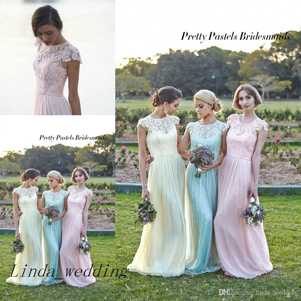 9590a6b4cf New Mint Green Yellow Pink Bridesmaid Dresses Pretty Pastels Chiffon Lace  Maid Of Honor Gowns Wedding Party Dress Patterns For Bridesmaid Dresses  Wedding ...