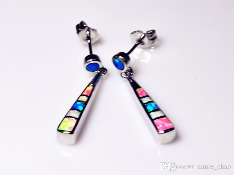 Großhandel Einzelhandel Mode Blau Weiß Rosa Mehrfarben Feine Feueropal Ohrringe 925 Silber Überzogene Schmuckstücke EJLF1512001