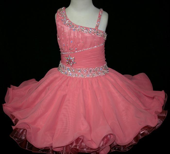 Beaded Crystal Ruffles cintura cupcakes infantile mini gonne partito occasione formale ball gown ragazza pageant abiti Little Rosie abito corto - 008