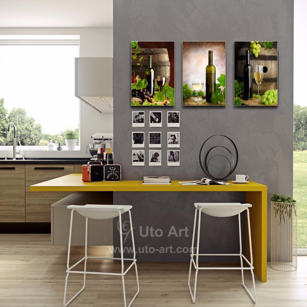 Wall Art Printed Painting 3 Panel Canvas Art Decor Grape Wine Still Life Digital Picture Print on Canvas for Restaurant Decor