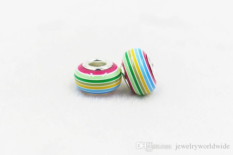 rainbow فضفاض سحر حبة استبدال 925 الفضة مطلي أزياء النساء المجوهرات النمط الأوروبي ل باندورا سوار قلادة