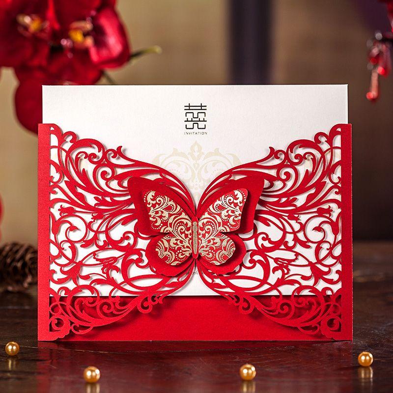 3d Butterfly Laser Design Red Wedding Invitation CardLaser – Red Wedding Invites