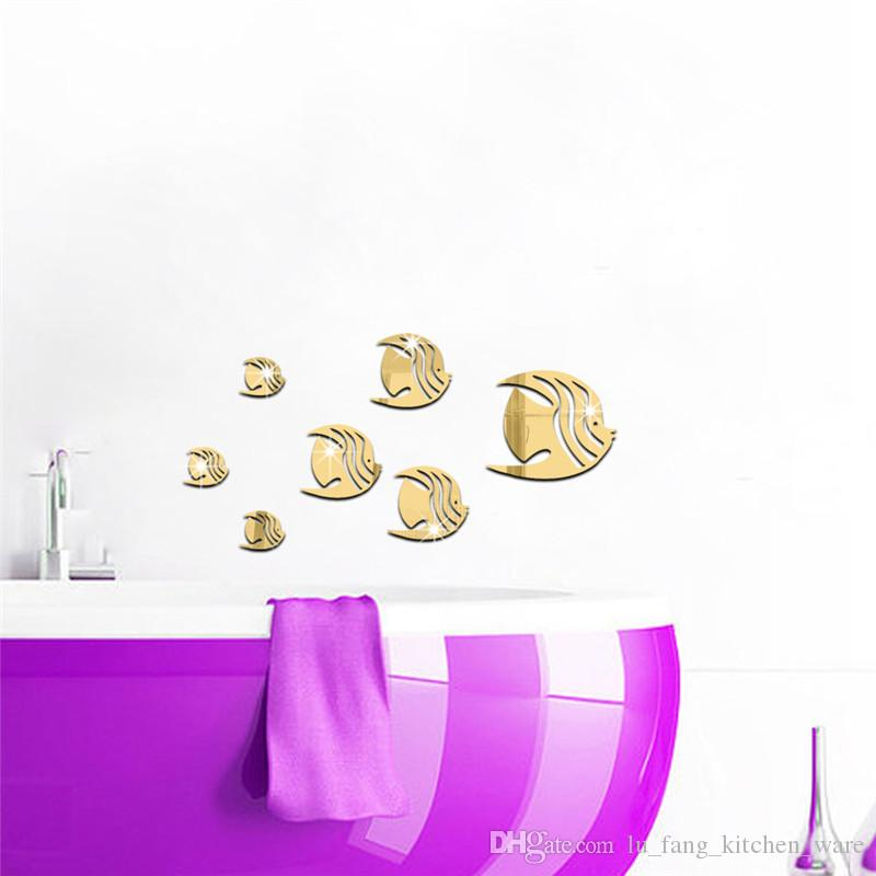 mirror wall stickers gold silver Creative Home Decor DIY small fish Carved bedroom Removable Decorate art Sticker 2017 wholesale