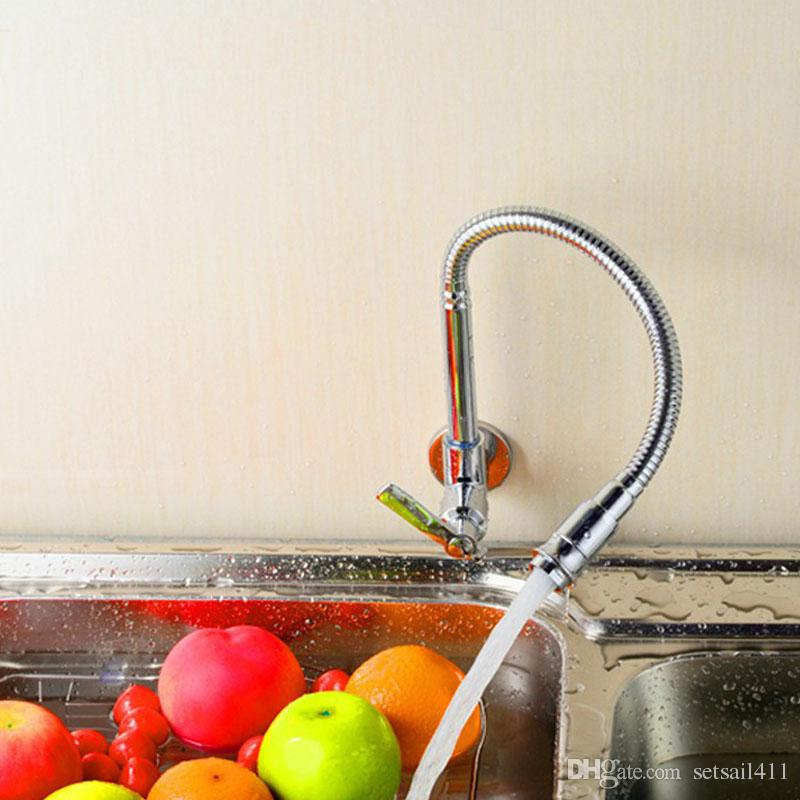 Wall Mounted Kitchen Faucet Single Cold Faucets Brass 360 Degree Rotation  Water Sink Tap Concealed Taps Chrome Finish