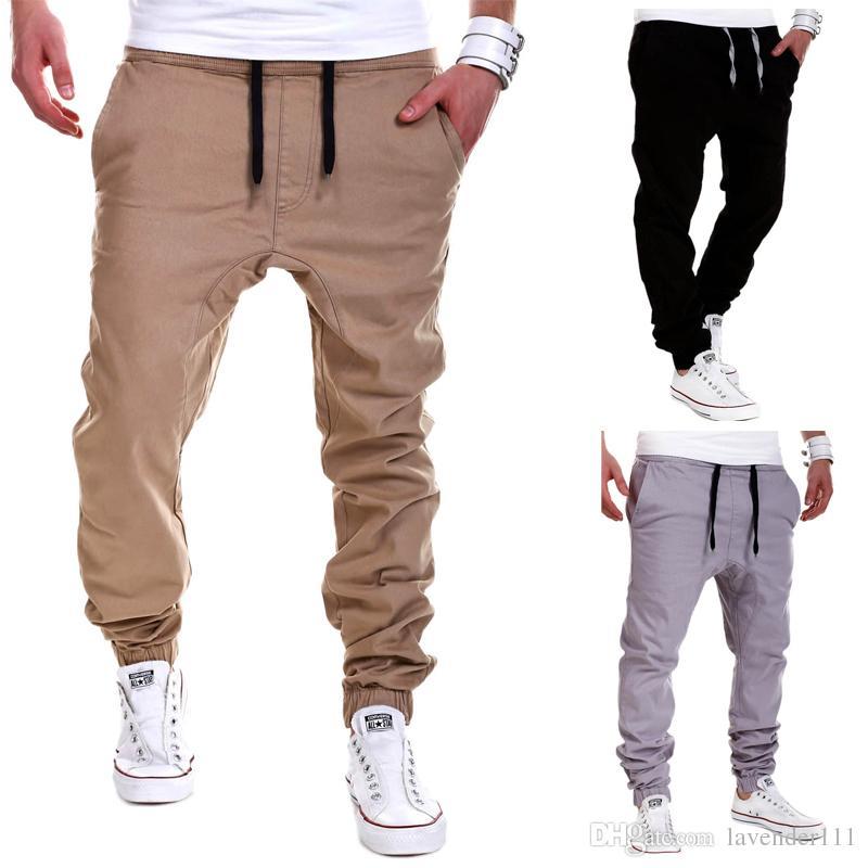 fd21f7936 Compre Mens Joggers Marca Pantalones Masculinos Pantalones De Hombre  Pantalones Sólidos Casuales Pantalones De Chándal Jogger Negro XXXL A  26.4  Del ...