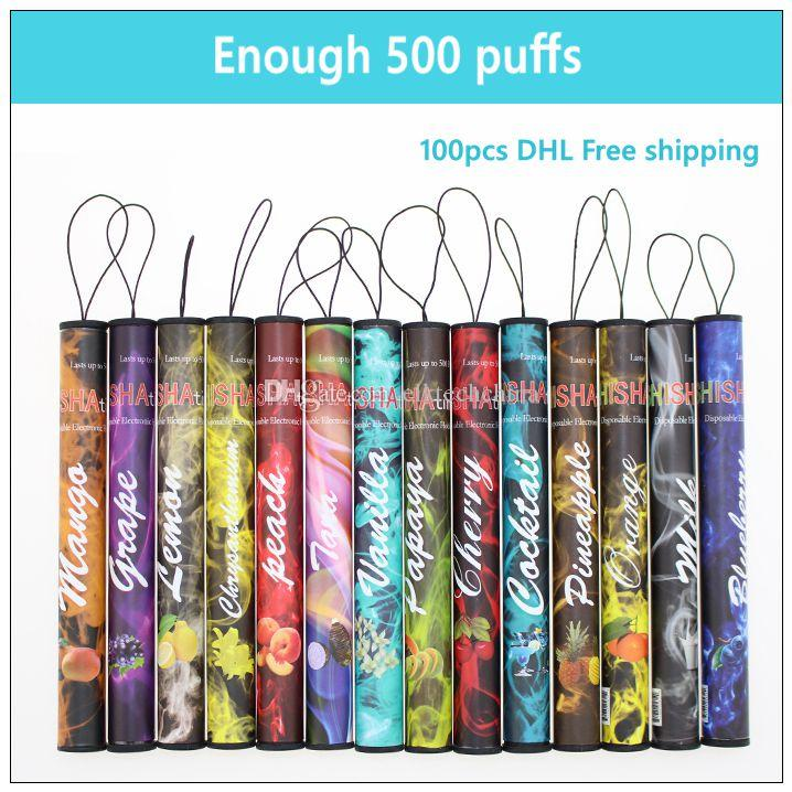 E ShiSha Time disposable electronic cigarette - DHL Enough 500 Puffs Various fruit flavors colorful disposable ecig hookah pen