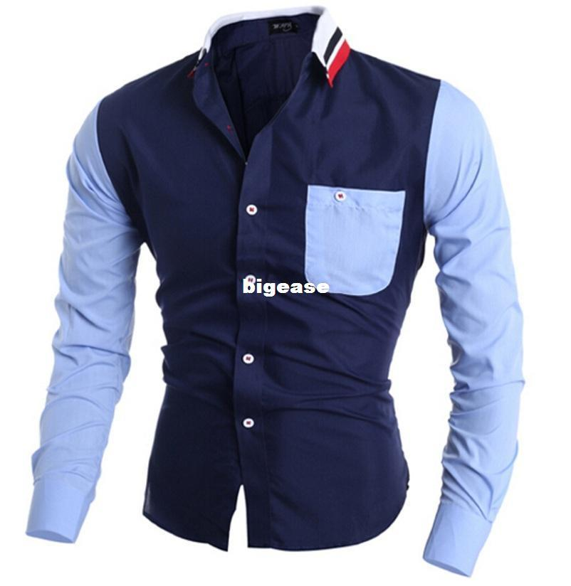 Wholesale- High quality Mens Dress Shirt Long Sleeve Male Business banquets Brand Fashion Formal Shirts Slim men casual soft shirts