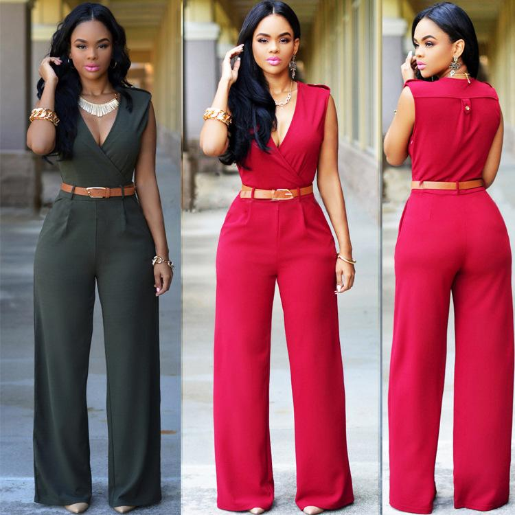 d7635867049 Fashion Sexy Deep V-neck Belt Jumpsuits Straight Trousers Plus Size Summer  Spring Europe New Women s Army Green Rompers Wide Leg Pants Hot Fashion Sexy  Deep ...