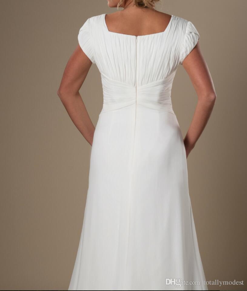 아이보리 Ruched 쉬폰 겸손한 해변 웨딩 드레스 캡 소매 긴 라인 비공식 신부 가운 대상 웨딩 드레스 새로운 판매
