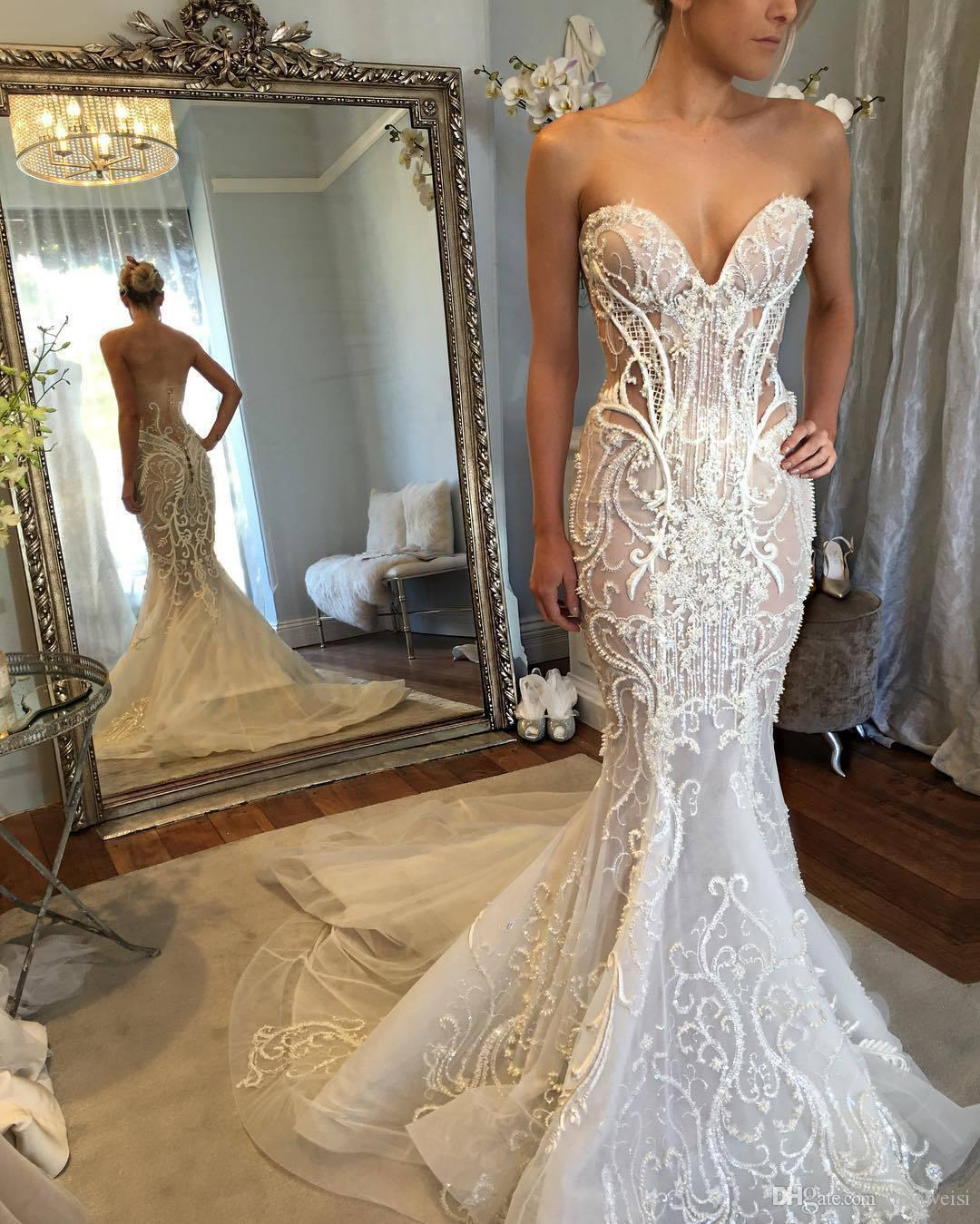 Sexy Backless Mermaid Wedding Dresses With Jacket Sweetheart Lace Appliqued Beads Hottest Bridal Gowns Sleeveless Illusion Wedding Dress