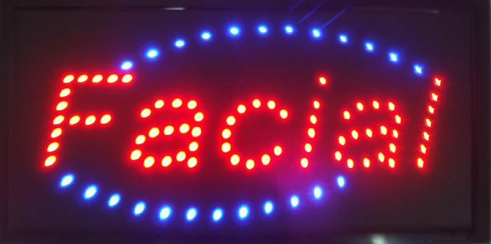 2016 carteles de las tiendas de atención personalizada faciales correr ultra brillante llevó la publicidad consignas abiertas se enfrentan cuidado tienda de señalización 25 * 48 cm por mayor