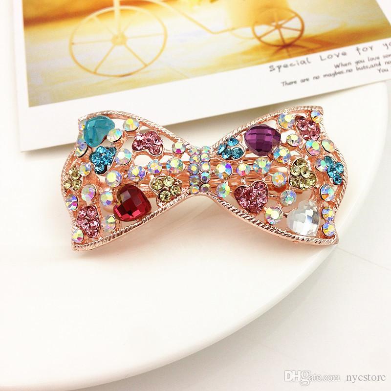 Women hair barrettes jewelry Zinc alloy rhinestone Butterfly Vintage hair clip hair accessories