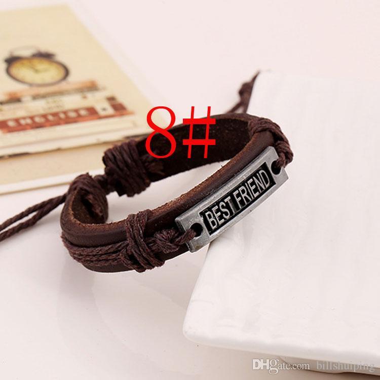 Unisexe fait à la main Dream Love Hope Hope Charme Bracelets tressés Corde En Cuir Bijoux pour hommes Femmes