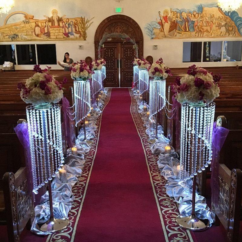 Venda por Granel Elegante Espumante Crystal clear guirlanda de casamento bolo carrinho de aniversário suprimentos decorações para a mesa top centerp