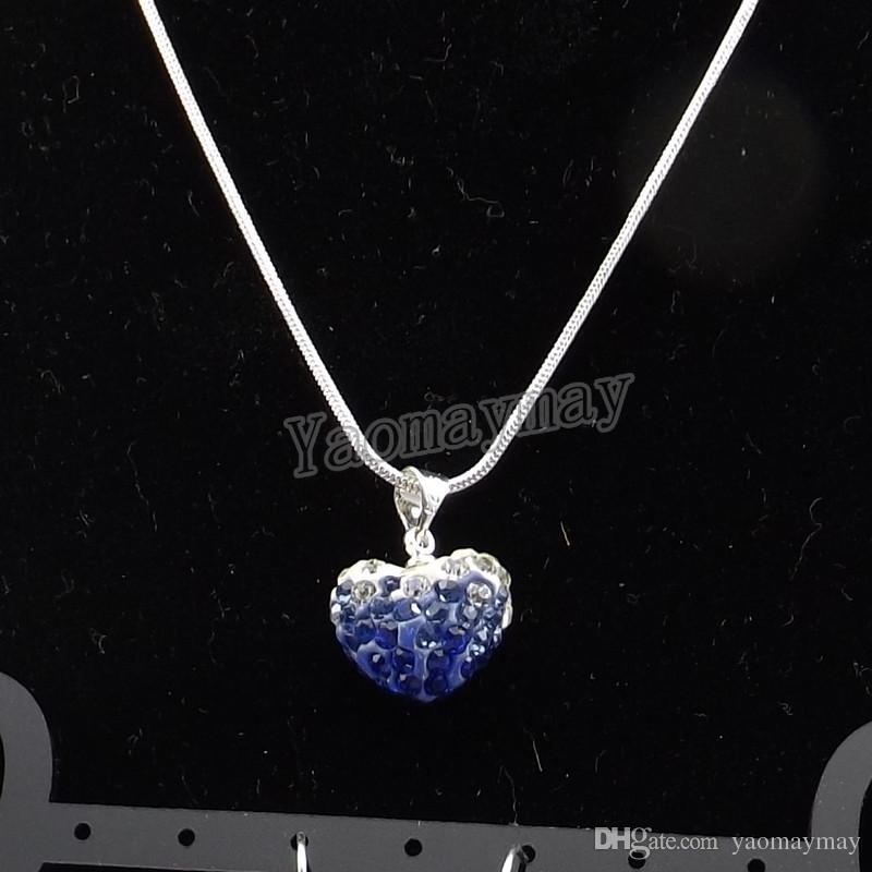 Moda Em Forma de Coração Conjunto de Jóias Gradiente Brincos De Cristal Azul E Colar 5 Conjuntos Atacado Frete Grátis