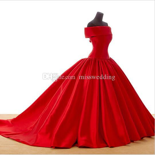 정장 디자인 Strapless 공 가운 새틴 Pleated 레드 웨딩 드레스 레이스 위로 가운에 좋은 품질