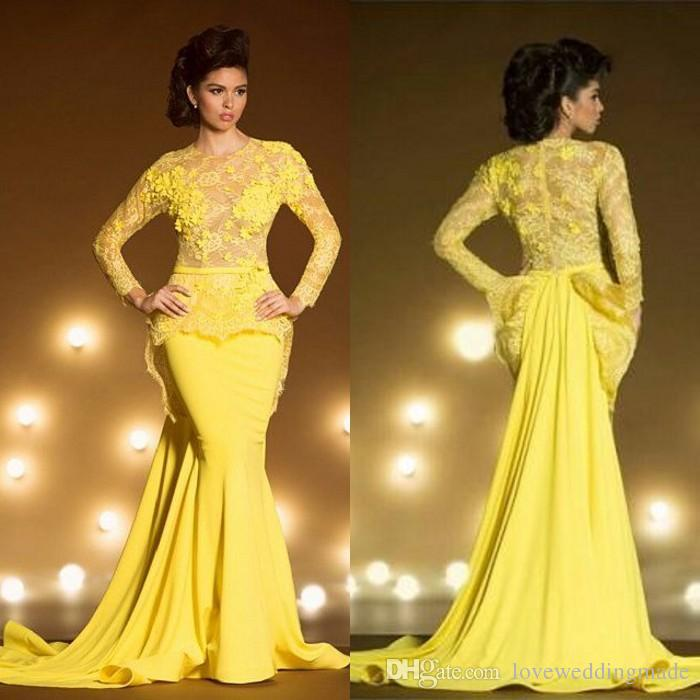Bright Yellow Mermaid Long Sleeves Evening Dresses 2018 Lace Applique Sheer Jewel Neck Peplum Transparent Formal Prom Gowns