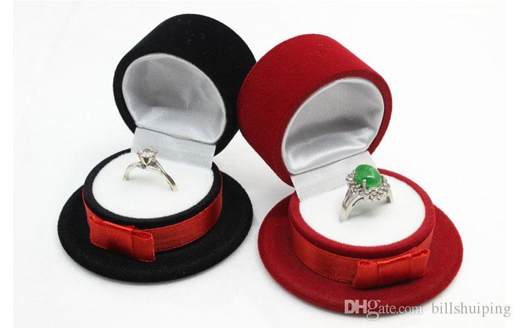 Cute gentleman hat Velvet Jewelry Boxes Organizer Ring Pendant Storage Case Holder Container Birthday Xmas Gift Packaging Box
