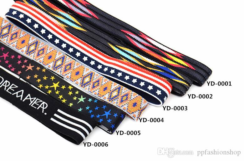 Sports belt with national wind embroidery printing head with elastic running fitness with hair belt wholesale