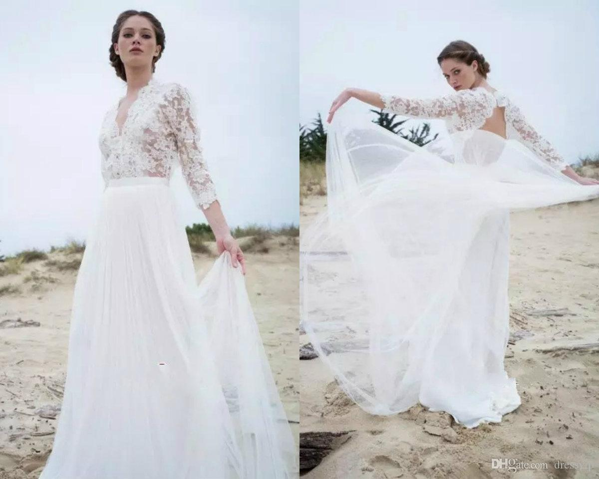 Discount a line cheap bohemian wedding dresses lace applique v