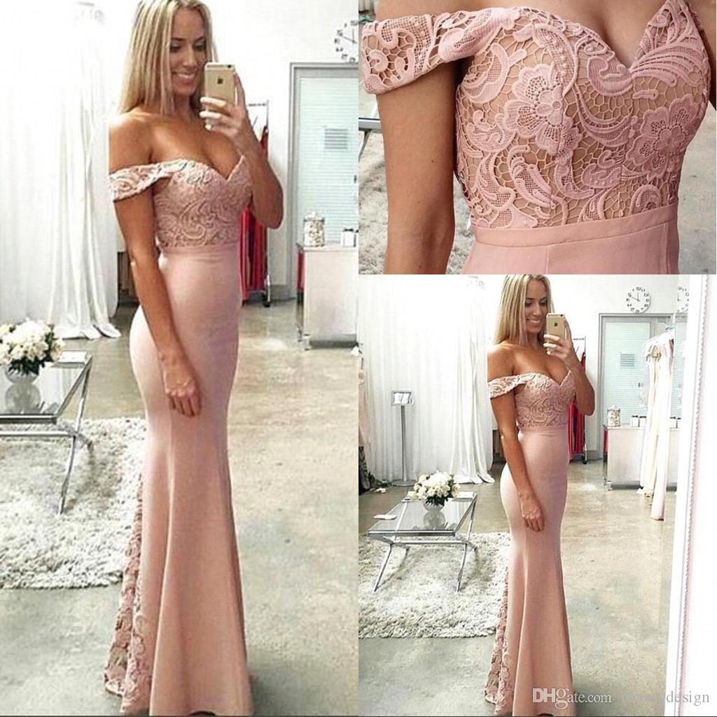 2017 blush pink mermaid bridesmaid dresses off shoulder for Wedding guest dress blush pink