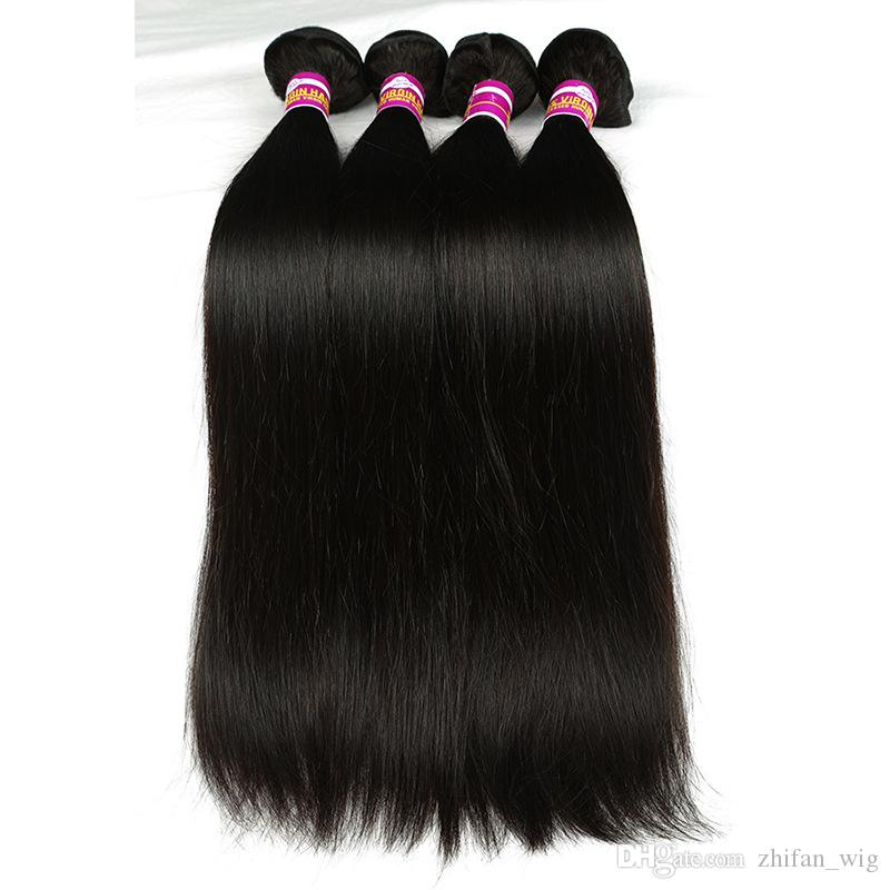 Z&F Natural Brazilian Hair Bundles Weave Bundles 100g/pc Straight Wave 8-28 Inch Remy Human Hair Black #BZHW02