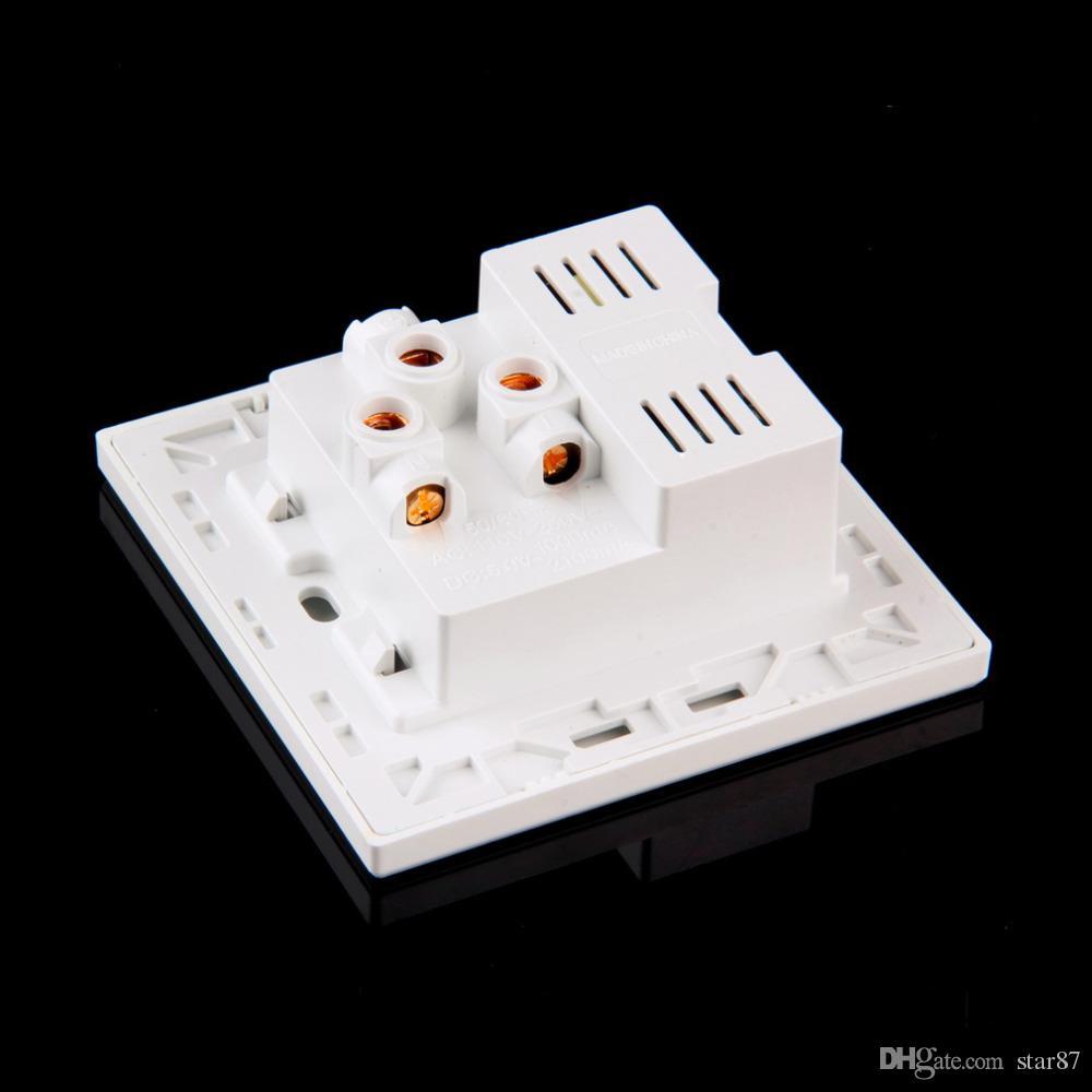 Yüksek Kalite Yeni Marka Çift USB Portu Elektrik Duvar Şarj Dock Soket Güç Çıkışı Paneli Plaka 2 renkler Akıllı Güç Fişleri DHL Ücretsiz